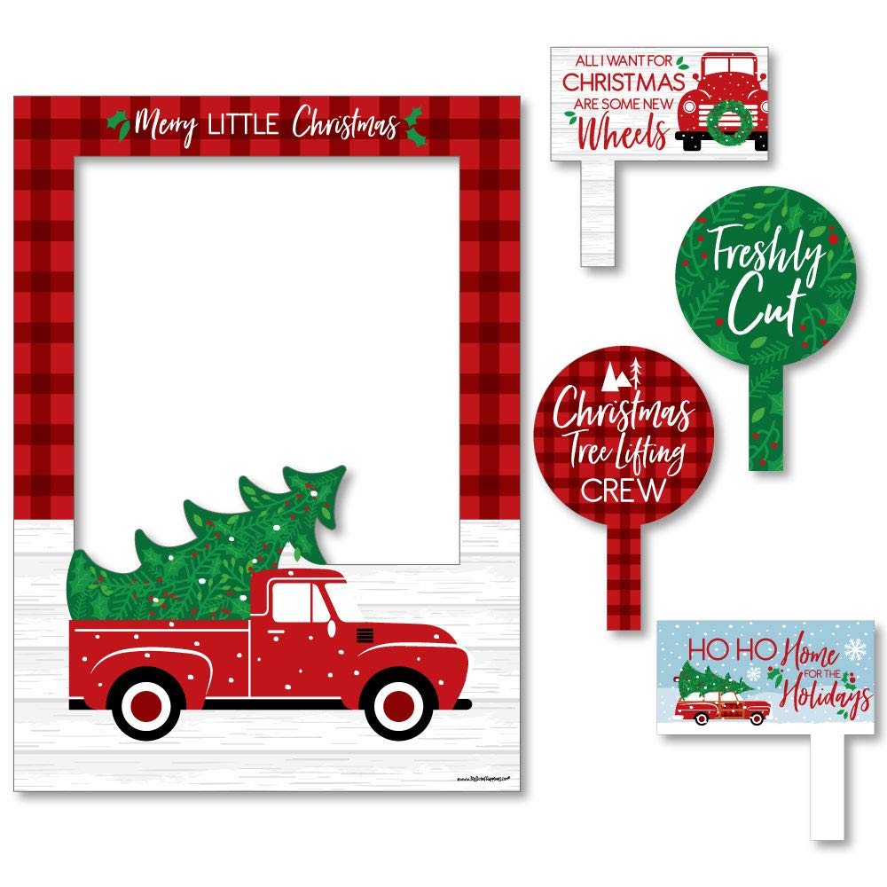 Merry Little Christmas Tree - Red Truck and Car Christmas Party Photo Booth Picture Frame and Props - Printed on Sturdy Material