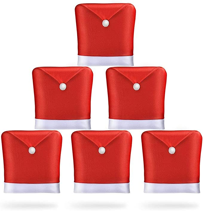 AMFOCUS Christmas Dining Chair Slipcovers Chair Back Covers Xmas Decoration, Santa Claus Hat Design, Set of 6