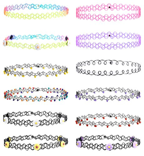Besteel 12pcs Necklace for Women Tattoo Choker Collar Necklace Stretch Elastic Set Teen 80s 90s