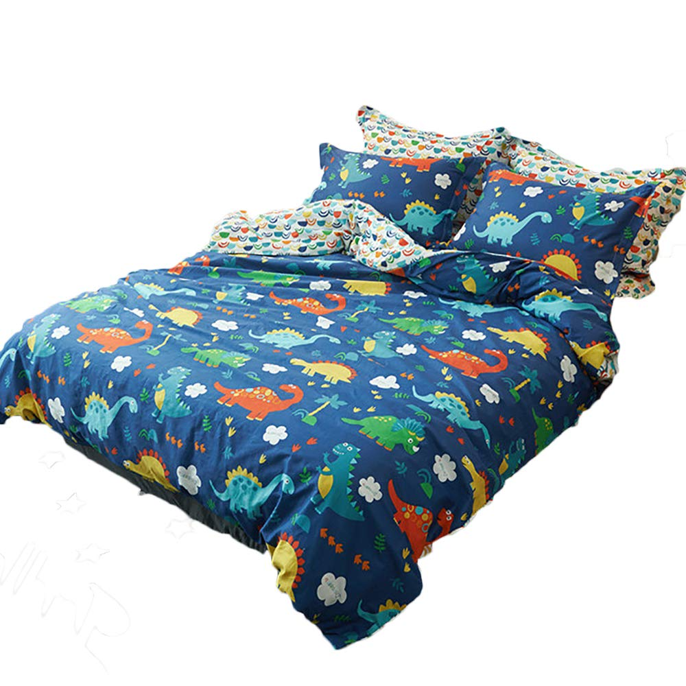 CLOTHKNOW Dinosaur Bedding Sets Kids Navy Blue Duvet Cover Sets Twin Boys Animal 100 Cotton 3 Pieces - 1 Duvet Cover with Zipper Closure 2 Pillow Sham NO Comforter