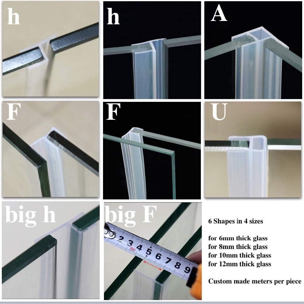 Juntas de silicona para puerta corredera, mampara de ducha, ventana, granero, cuarto de baño, 6 8 10 12 mm, accesorios de fijación de vidrio, tira de clima hecha a medida