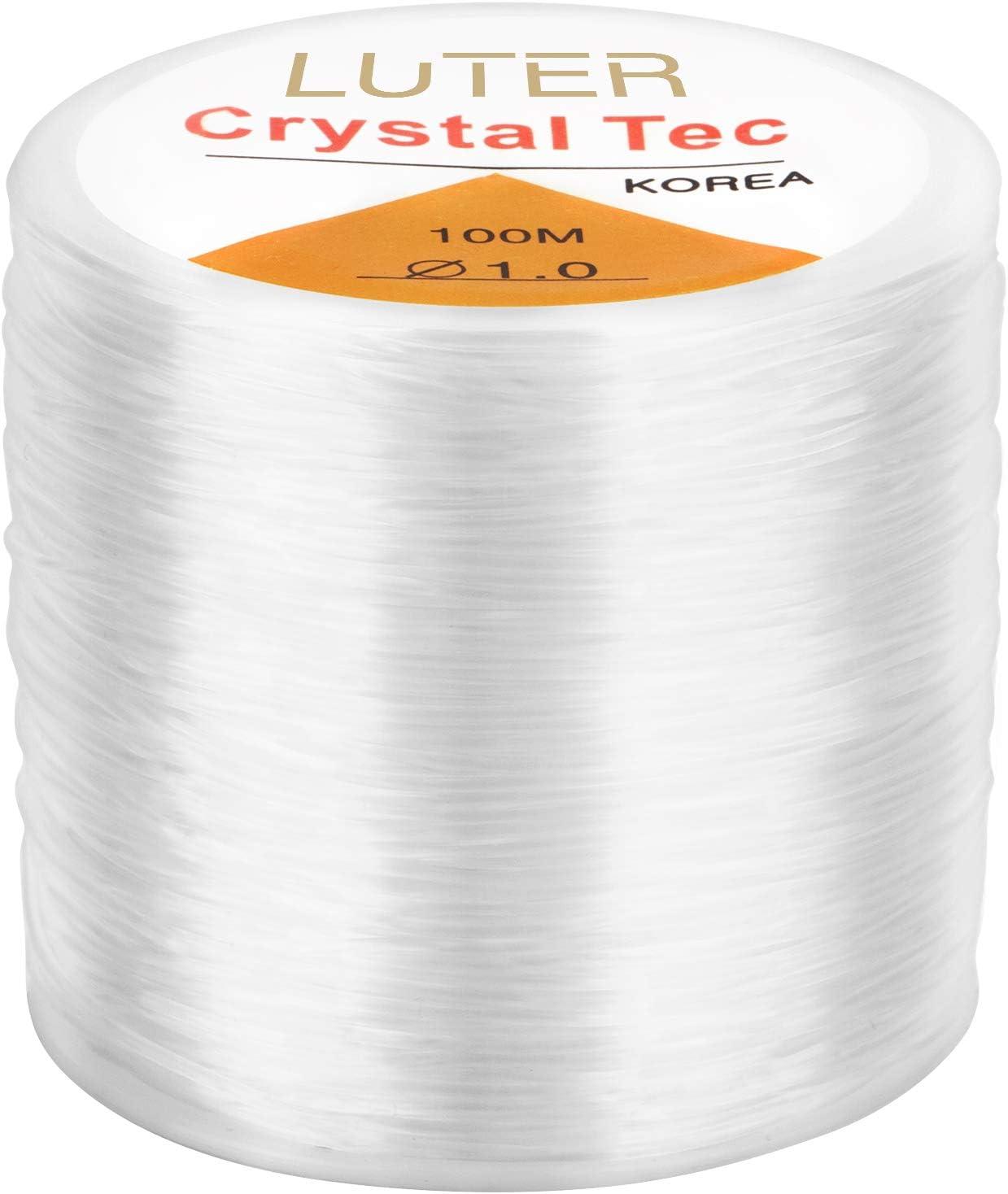 LUTER 1mm Pulsera elástica Cuerda de cuerda Claro elástico Hilo de abalorios para Fabricación de joyas Pulsera de collar (328 pies)