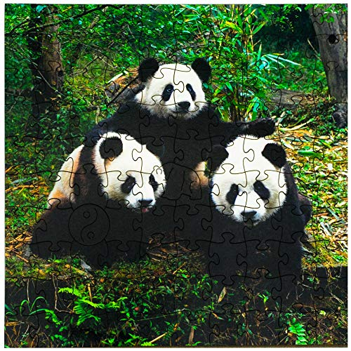 Mosaic Puzzles Wooden Jigsaw Puzzle - Giant Pandas - 103 Unique Pieces Challenge Any Puzzle Lover from Ages 8 to 98 - Made in The USA by Zen Art & Design