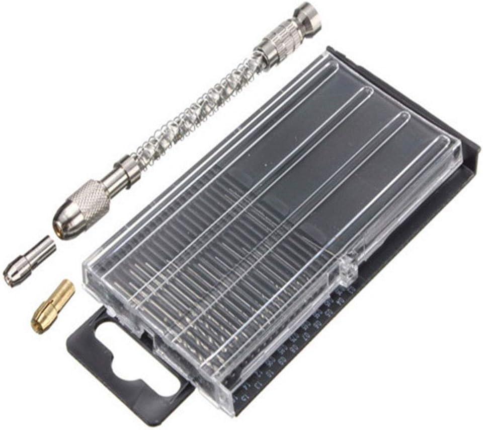 Mini Espiral HSS Pin Vise Bit Mano De Empuje Manual Portabrocas Con 20Pcs Gira Bits Taladro De Mano Bits Puestos Para Hacer Electr/ónica Y Modelo De Perforaci/ón 0.3-1.6Mm