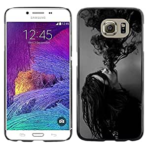 LECELL--Funda protectora / Cubierta / Piel For Samsung Galaxy S6 SM-G920 -- Ink Possessed Girl Demon Black White --