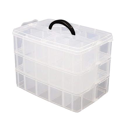 Caja Almacenamiento 3 Niveles Plástico Transparente por Kurtzy - Para Guardar y Organizar Hilos de Coser