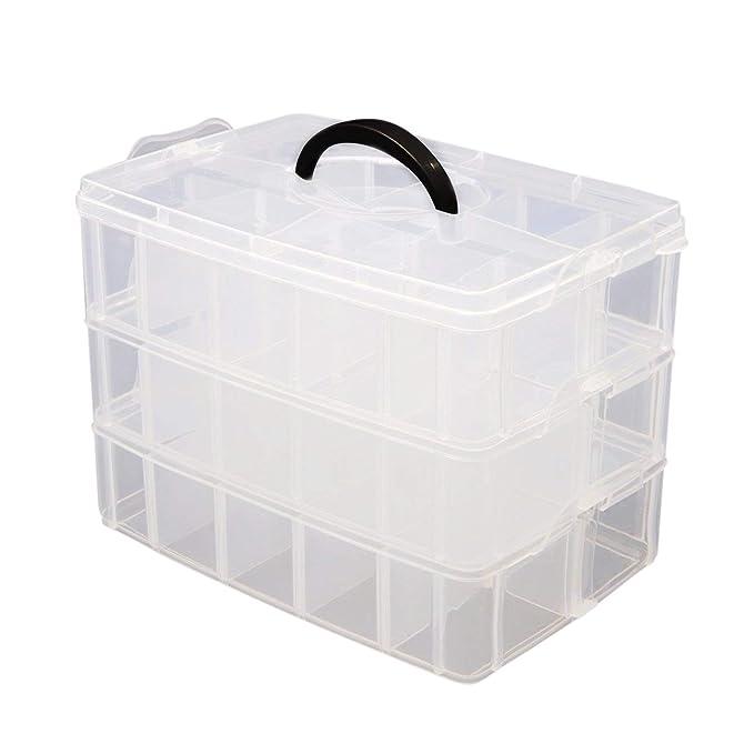 Caja Almacenamiento 3 Niveles Plástico Transparente por Kurtzy - Para Guardar y Organizar Hilos de Coser Cuentas Artículos de Belleza Esmaltes Joyas Artes y ...
