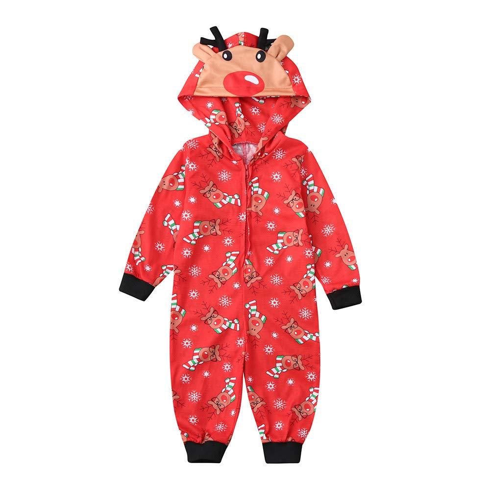 Daoope Famiglia Natale Famiglia Natale Pigiama Albero di Natale da Donna Manica Lunga Rosso Abbigliamento per Bambini Ragazzi e Ragazze Felpa con Cappuccio Harness Tuta Famiglia Pigiama Natale