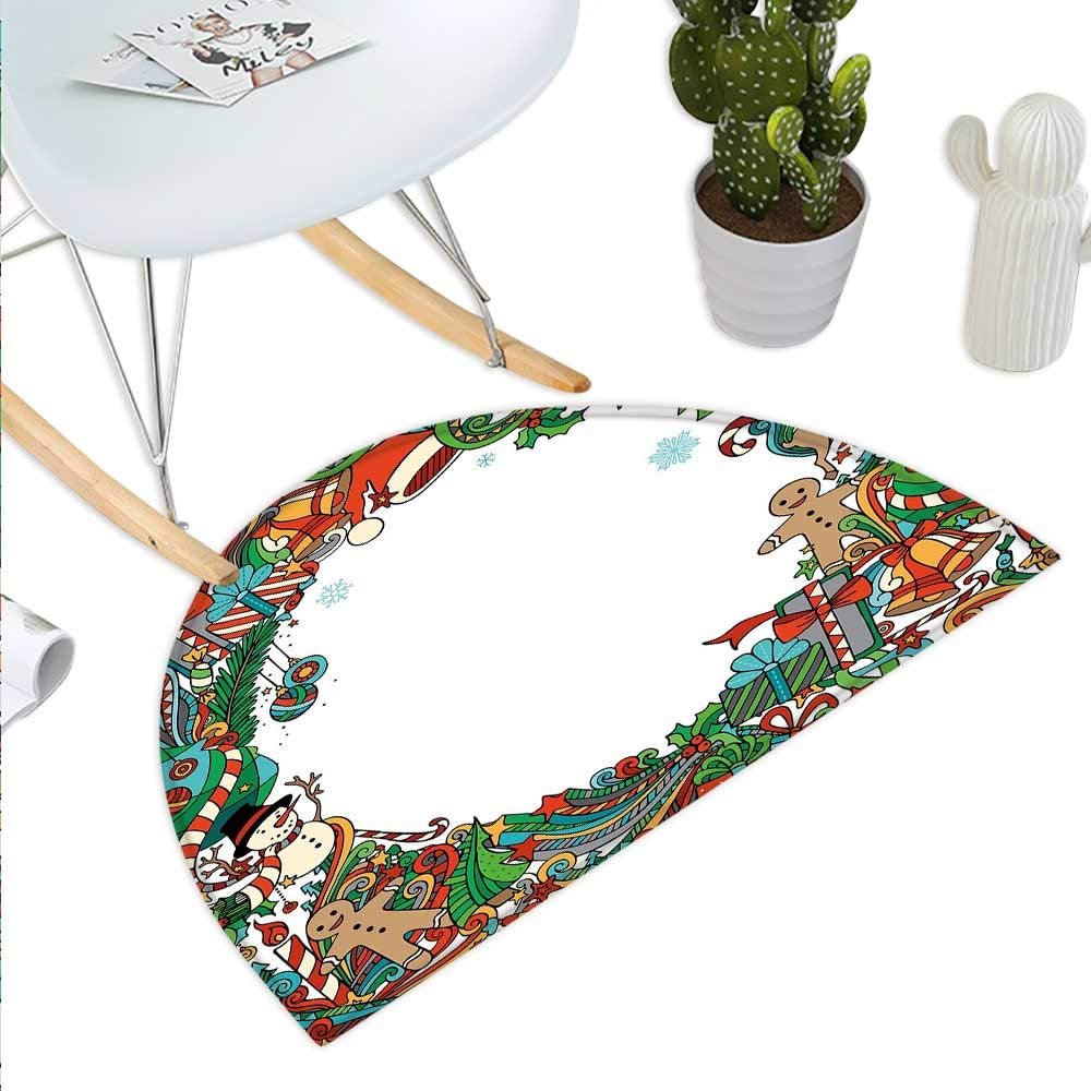color09 H 31.5  xD 47.2  Kids Christmas Semicircle Doormat Cheerful Celebration of Yuletide Theme with Pastel Seasonal Graphic Elements Halfmoon doormats H 27.5  xD 41.3  Multicolor