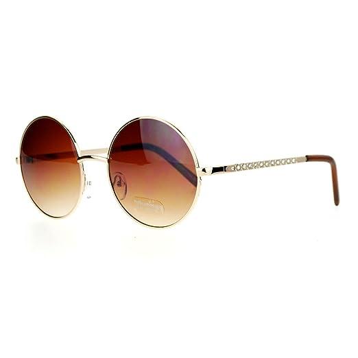 5c299672c8 SA106 Womens Round Circle Lens Rhinestone Bling Arm Retro Sunglasses Gold  Brown