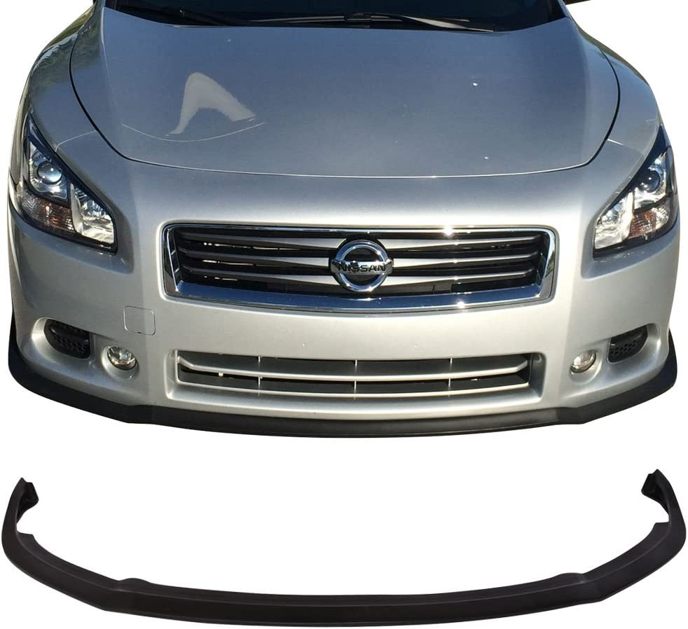 Front Bumper Lip Compatible With 2009-2015 Nissan Maxima 2010 2011 2012 2013 CS Style PU Black Front Lip Spoiler Splitter by IKON MOTORSPORTS