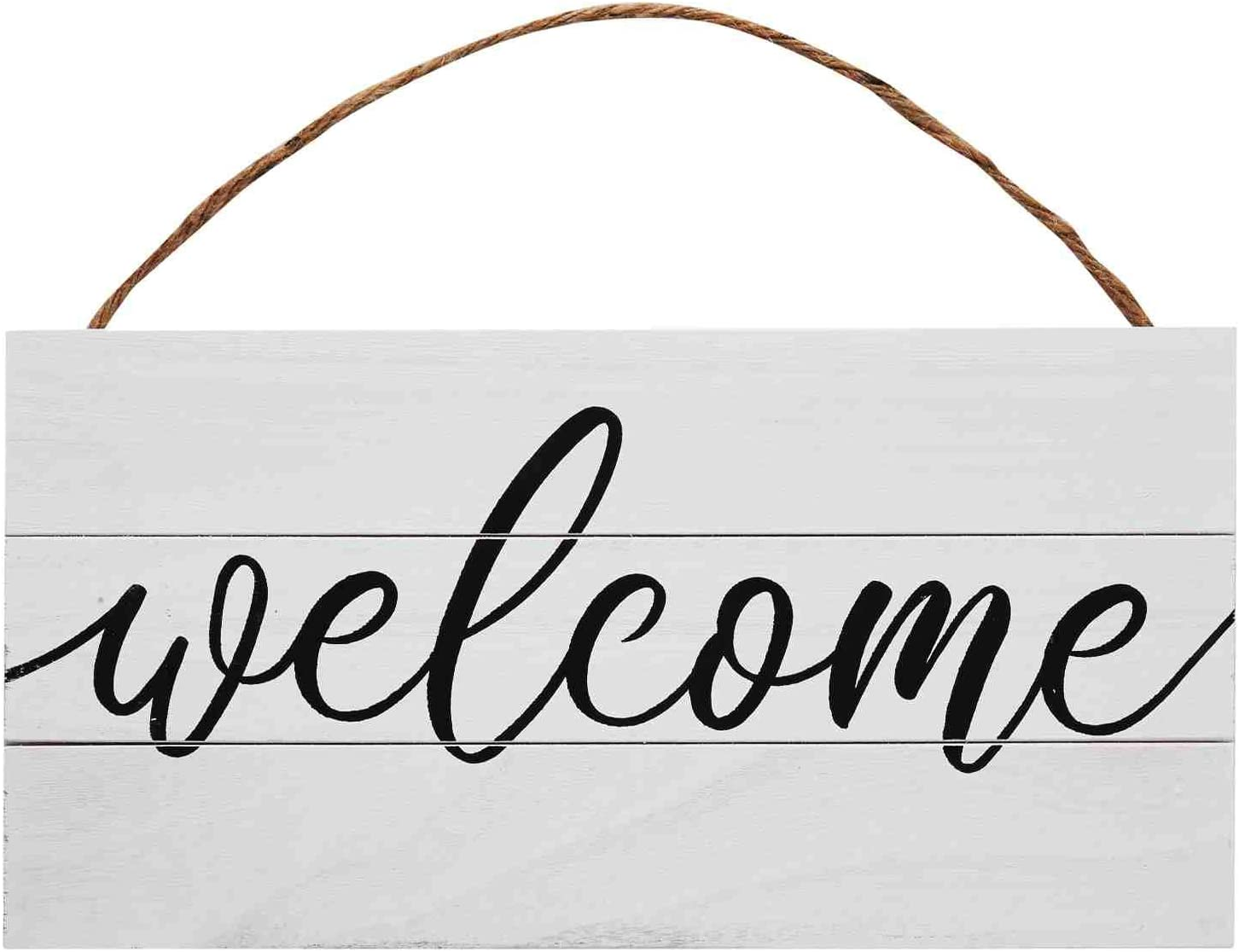 GSM Brands Welcome Wood Plank Hanging Sign for Home Decor (13.75 x 6.9 Inches)
