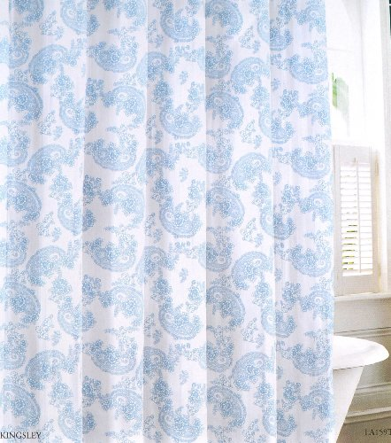 Laura Ashley Blue And White Floral Paisley Fabric Shower Curtain 100 Cotton 72 X 72 Kingsley