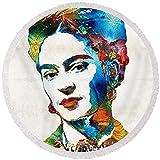 Pixels Round Beach Towel With Tassels featuring ''Frida Kahlo Art - Viva La Frida - By Sharon Cummings'' by Sharon Cummings