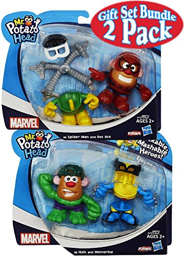 Playskool Mr. Potato Head Marvel Mixable Mashable Heroes (3 Inch) as Spider-Man & Doc Ock and as Hulk & Wolverine Gift Set Bundle - 2 Pack