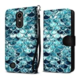 FINCIBO Case Compatible with LG K20 Plus, Ultra Slim Protective Flip Canvas Wallet Pouch Case Card Holder TPU Cover For LG K20 Plus/Harmony VS501/LV5 K10 2017 M250 M257 - Mermaid Scales Blue Wave