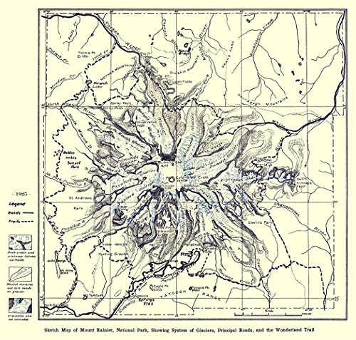Old City Map - Mount Rainier National Park 1925 - Matte Art Paper