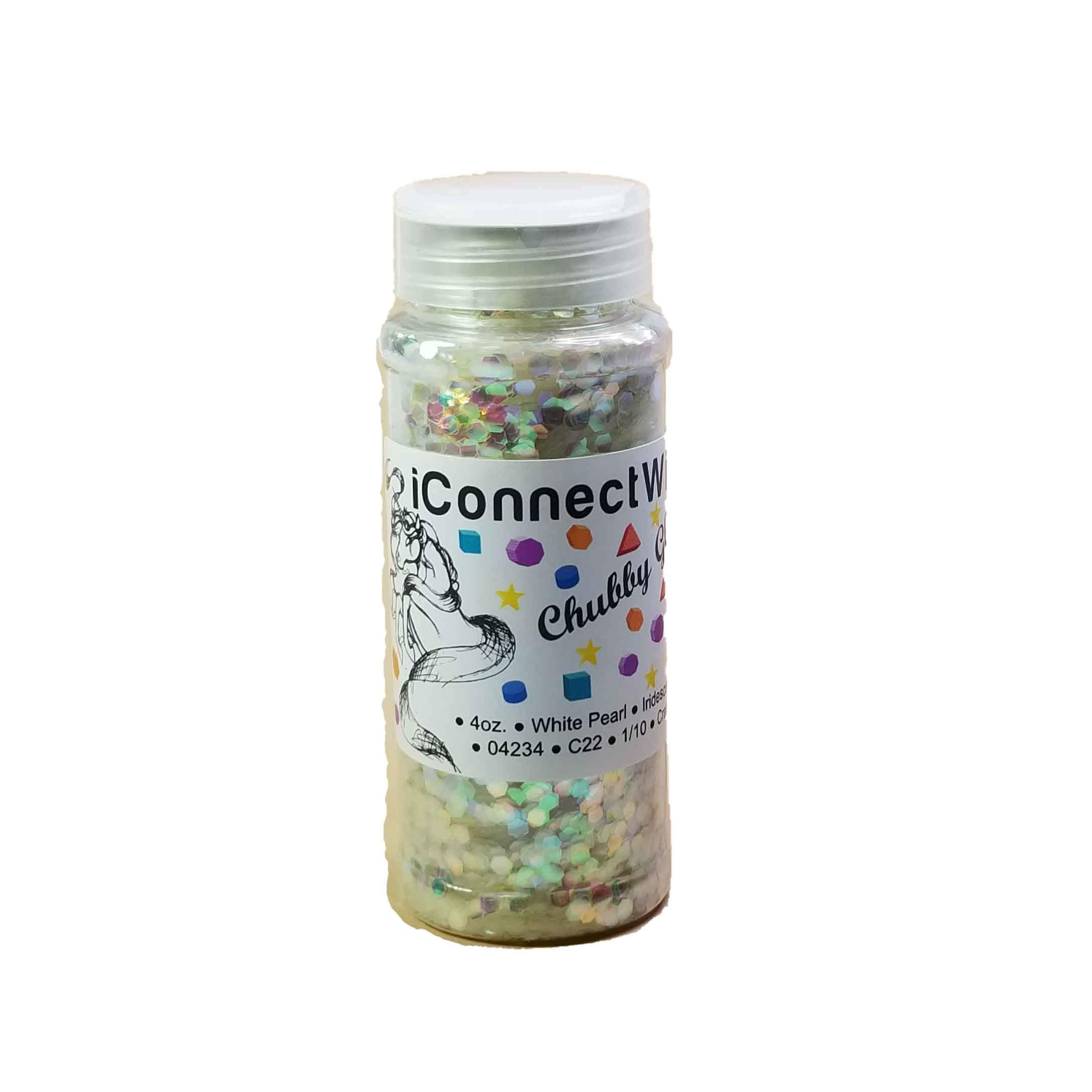 Chubby White Pearl, 4oz Shaker Bottle. Iridescent Glitter