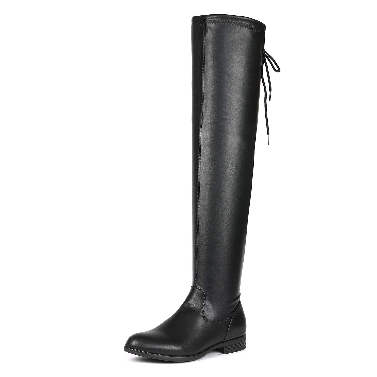 DREAM PAIRS Women's OVERIDE Black PU Low Heel Thigh High Over The Knee Flat Boots Size 8.5 B(M) US