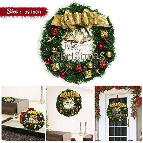 VeMee Christmas Wreath, Christmas Decorated Ornament Wreath Garland, Seasonal Pine Wreath with Cones, Red Berries, Bristle Indoor Outdoor Window Door Christmas Wreath Decoration (24 inches, (All Seasons Ornament)