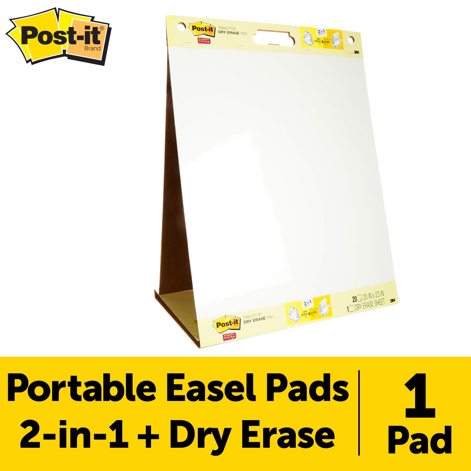 Post-it Super Sticky Portable Tabletop Easel Pad w/ Dry Erase Panel, 20x23 Inches, 20 Sheets/Pad, 1 Pad, One Side White Premium Self Stick Flip Chart Paper, One Side Dry Erase, Built-in Stand (563DE) by Post-it