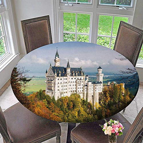 PINAFORE HOME Picnic Circle Table Cloths The amaz Wonderful Neuschwanstein Castle in The Bavaria Region in Germany for Family Dinners or Gatherings 31.5
