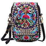 Embroidered Cute Mini Crossbody Bag for Women Small Handbags wristlet wallet bag Cell-phone Pouch Coin Purse