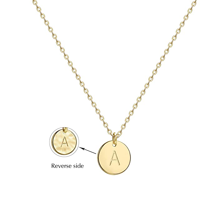 c88dcf0cf Amazon.com: Valloey Gold Initial Pendant Necklace, 14K Gold Filled Disc  Double Side Engraved 16.5