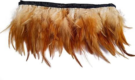 """Genuine 4/"""" to 6/"""" Hackle Feather Fringe Trim USA SELLER FREE SHIPPING 1 yd"""