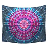 WSHINE Psychedelic Mandala Tapestry Wall Art Floral Print Decor Blue Beach Blanket (TN-5)
