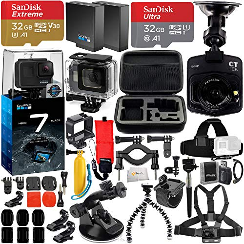 GoPro HERO7 Hero 7 Black Action Camera withFREE Promotional Dash Cam and Deluxe Accessory...