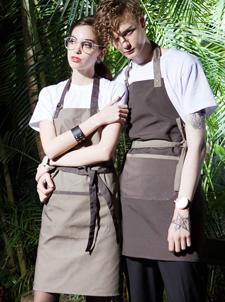 Grembiuli da Cucina con Barbecue per Uomini e Donne Marrone con Cinturini Verde Oliva YUX Grembiule da Cucina
