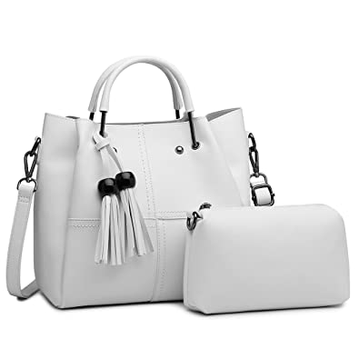 455f32ec91c3 Miss Lulu Brand Top Handle Bag with Small Pouch Set Pu Leather Zip Closure  Shoulder Bag
