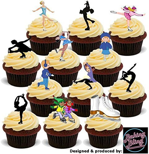 Skater Skating (12 x Ice Skating Skater Party Pack Multi Mix - Fun Novelty Birthday PREMIUM STAND UP Edible Wafer Card Cake Toppers Decoration)
