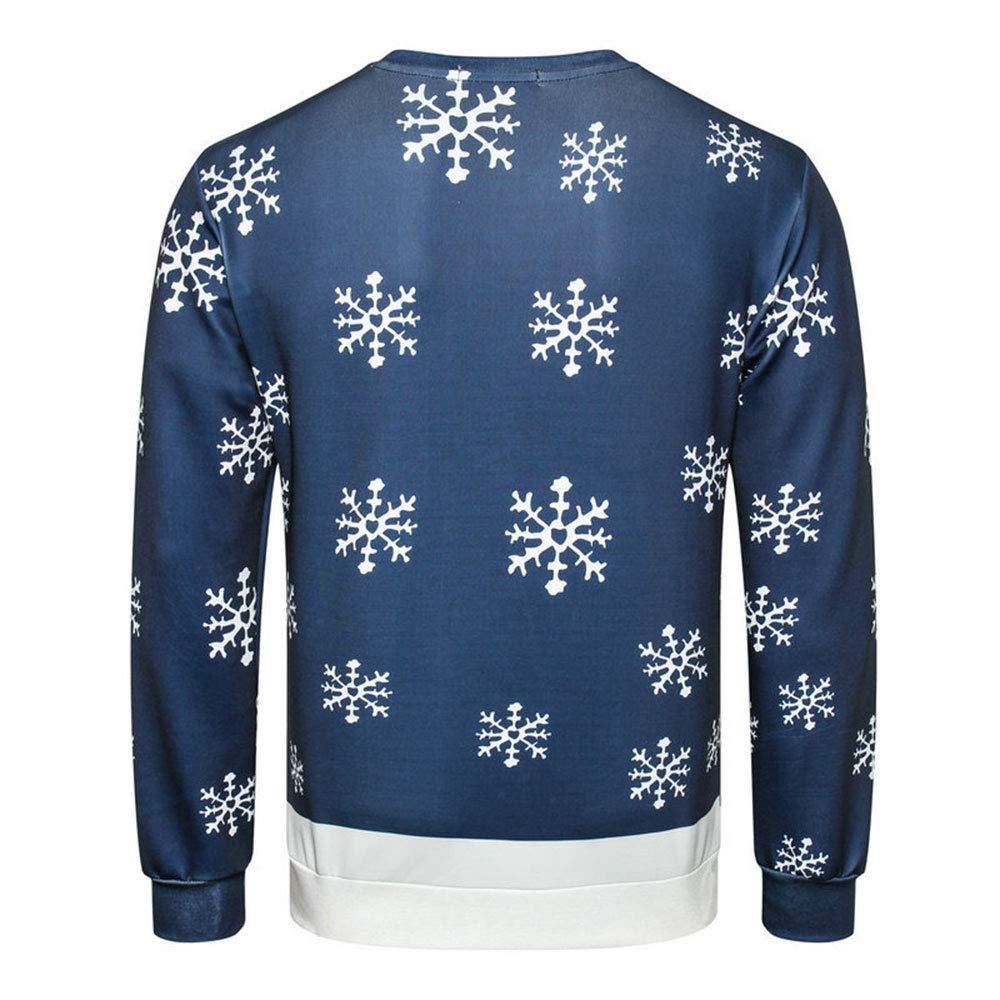 LINGMIN Mens Crewneck 3D Reindeer Sweatshirts Ugly Long Sleeve Pullover Sweatshirt