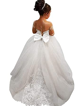 c645a97c90 Amazon.com  GZY White Ivory Lace Long Sleeve Flower Girl Dresses Princess  Gown Pageant Dress GZY202  Clothing