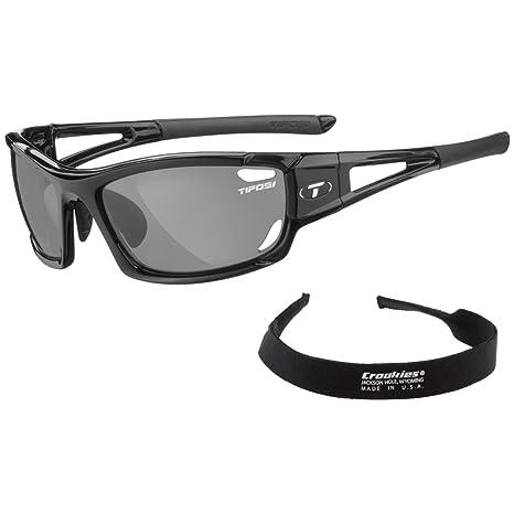 e719ec508f Tifosi Dolomite 2.0 Sunglasses - Gloss Black - Smoke Polarized Fototec w  FREE Sunglass Retainer  Amazon.in  Clothing   Accessories