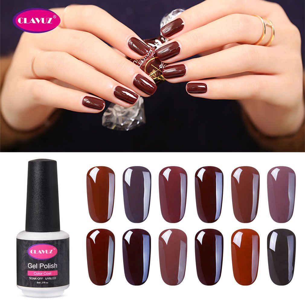 CLAVUZ Gel Nail Polish Kit Soak Off UV LED Gel Nail Lacquer Nail Art New Starter Manicure Set (12pcs Coffee Brown)