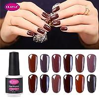 CLAVUZ Gel Nail Polish Kit Soak Off UV LED Gel Nail Lacquer Nail Art New Starter Manicure Set (12pcs Coffee Brown)