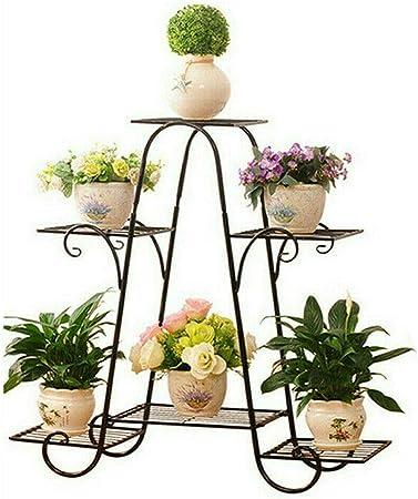 Malayas Estantería Decorativa de Hierro para Macetas Soporte de Flores Plantas para Exterior Interior Jardín con 6 estantes 77×26×72cm Color Negro: Amazon.es: Hogar