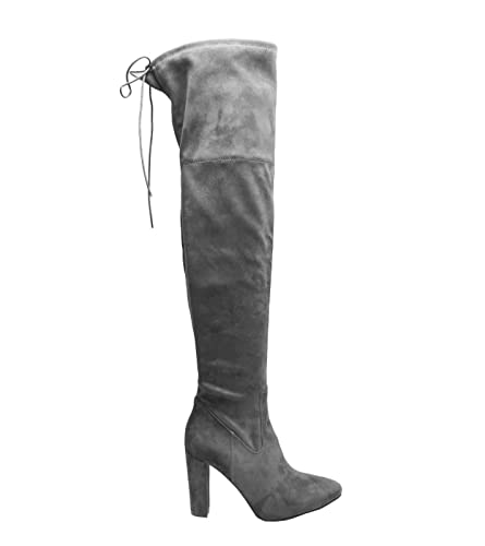c270450de131a3 FLIRTY WARDROBE Damen Damen Wildleder über dem Knie Boots Schuhe Block High  Heel Spitze Oberschenkel Stretch