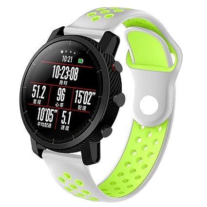 Zolimx Deporte Elegantes Cuero Pulsera Suave Silicona Correas de Reemplazo para Reloj Xiaomi Huami Amazfit 2/2S Smartwatch (Verde Claro)