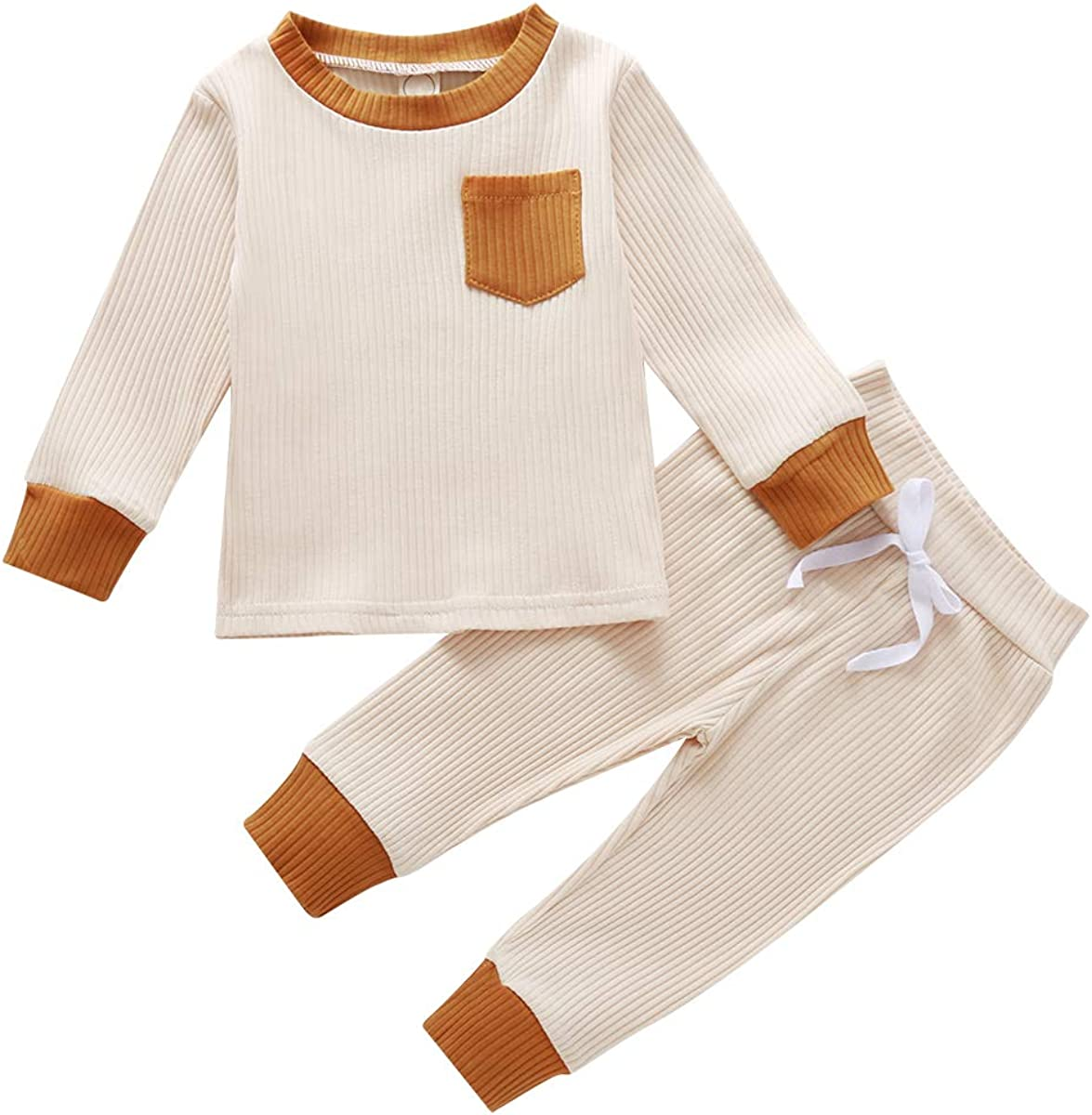 Voydsunflower Baby Girls Boys 2 Pieces Pants Set Solid Knitted Long Sleeve Tops Sweatshirt /& Pants Pajamas Set Outfits