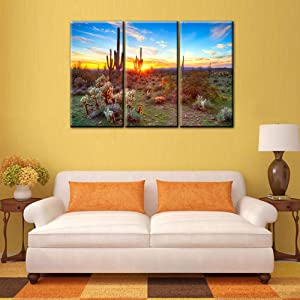 TUMOVO Native American Wall Decor Sonoran Desert Near Phoenix Paintings USA Landscape Artwork Sun and Flower Canvas Modern Artwork Home Decorations for Living Room Framed Ready to Hang(28''x42'')