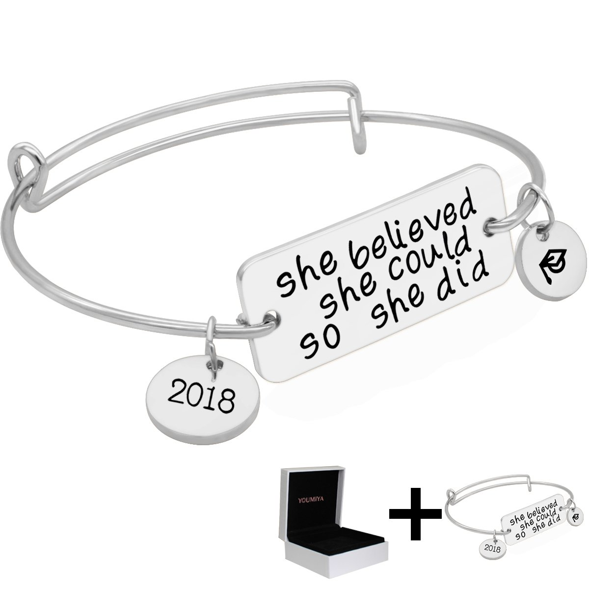 Gold Bracelet Jewelry Graduation Gifts - YouMiYa 2018 Inspirational Bracelets Series She Believed She Could So She Did Adjustable Bracelet Bangle For Women (Silver With Box)
