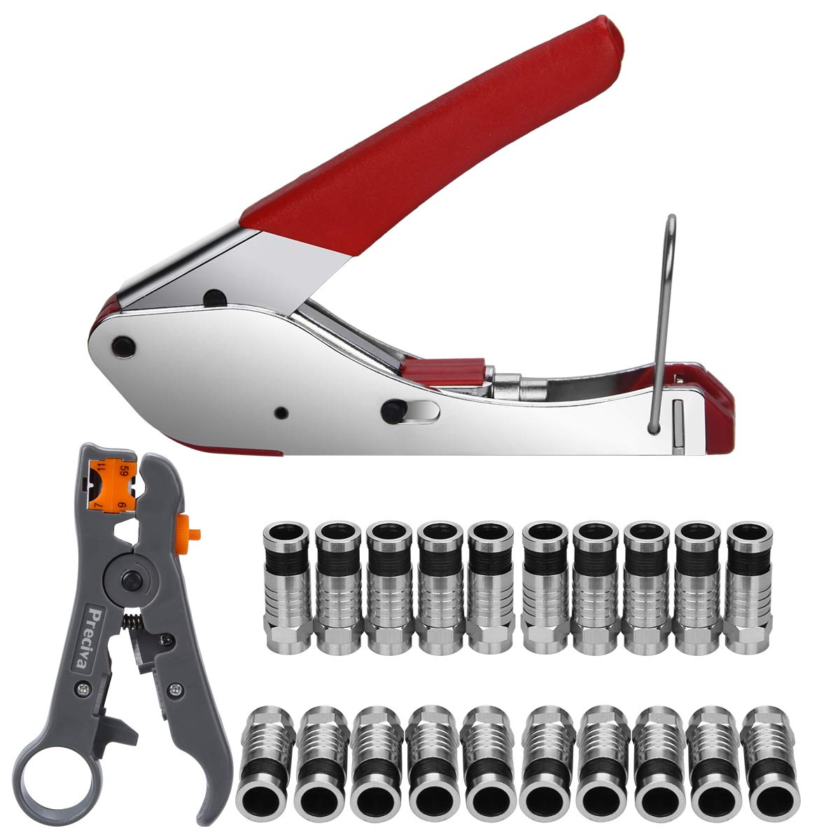 Preciva Coax Cable Crimper, Coaxial Cable Compression Tool Kit with Crimp Tool, Double-blade Wire Terminal Stripper Adjustable for Coaxial Cable RG59/6/58/174, 20 F Connectors(for RG6 Cable&Cable TV)