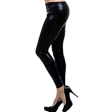 f5961370568 Women Ladies Metallic Shiny Wet Look Leggings Disco Stretch PVC Pants UK  Size 8-22  Amazon.co.uk  Clothing