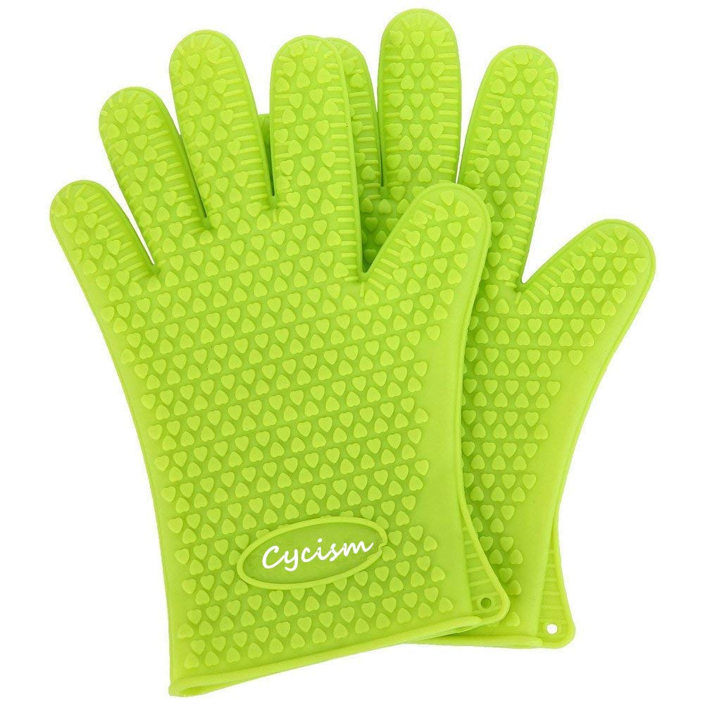 Oven Mitts/BBQ Gloves 10.6 inch Best Indoor & Outdoor Cooking Heat Resistant Silicone Gloves Cycism