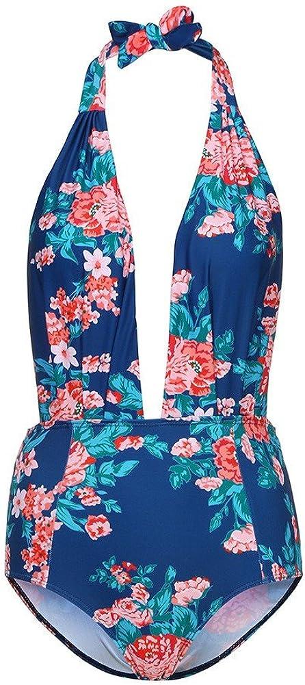 iLUGU Two Pieces Tankini for Women Halter Briefs Floral Pattern Swimwear Swimsuit Beachwear