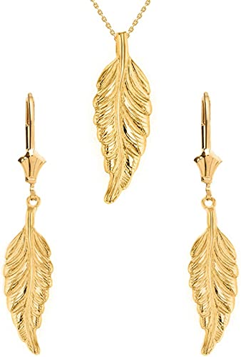 Solid 14k Yellow Gold Bohemia Leaf Feather Necklace and Earring Set